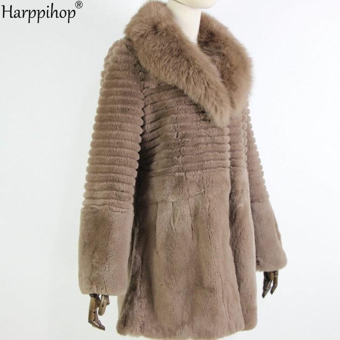 النساء معطف الفرو الحقيقي الثعلب الفراء طوق معطف طويل شريط الطبيعة نقية حقيقية الأرنب الفراء سترة